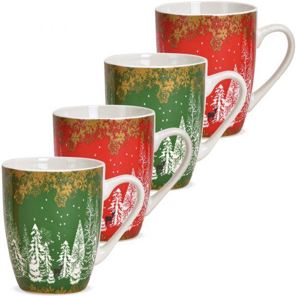 Tassen Kaffeebecher Tannenbäume Wald rot grün Porzellan 4er Set sort 340 ml 10 cm