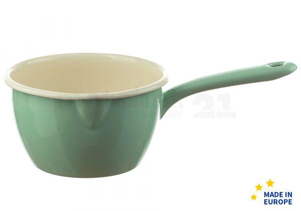 Email Stielkasserolle / Stieltopf mit Ausguss grün Emaille Geschirr 1000 ml