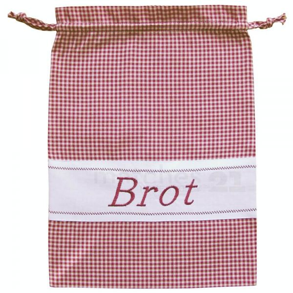 Brotbeutel Stoff Landhaus rot weiß kariert & Herz Stoffbeutel Sack 30x40 cm