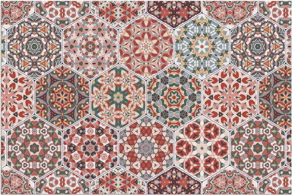 Fußmatte Fußabstreifer DECOR Marokko Orient Mosaik rot grün waschbar 40x60 cm