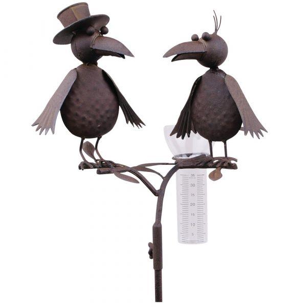 Regenmesser Vögel Zylinder braun Metall Erdspieß Niederschlagsmesser 1 Stk 127 cm