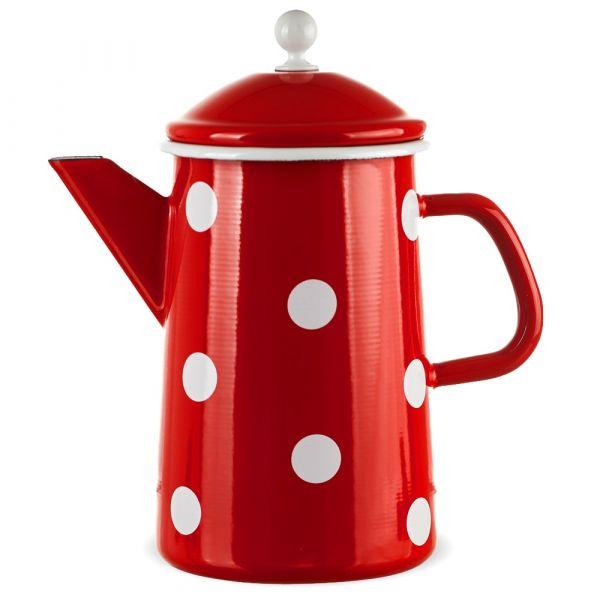 Große Email Kaffeekanne rot gepunktet Emaille Kanne 23x12 cm / 1600 ml