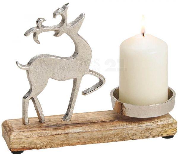 Rentier Kerzenhalter Deko Holz & Metall Weihnachten silber / braun 1 Stk 20 cm