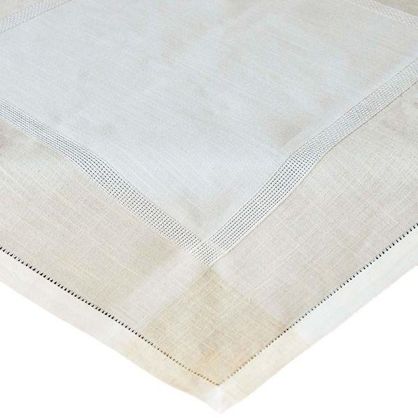 Mitteldecke Tischwäsche Leinenoptik & Hohlsaum Tischwäsche wollweiß ecru 110x110 cm