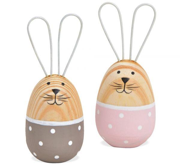 Osterhasen Hasenfiguren Eierform Holz & Metall Ohren Deko Figuren 2er Set 2 Größen