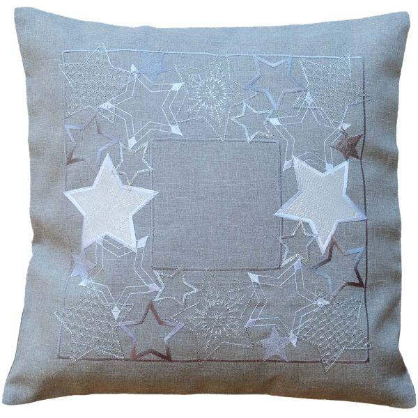 Kissenbezug Kissenhülle Sternen Banner Weihnachten Stick 40x40 cm 1 Stk hellgrau