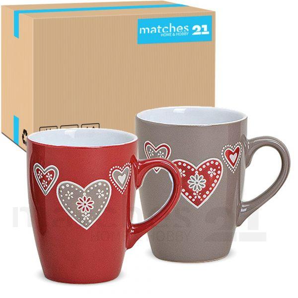 Tassen Becher Kaffeebecher 36 Stk. Karton bunt Landhaus Herzen Keramik 350 ml