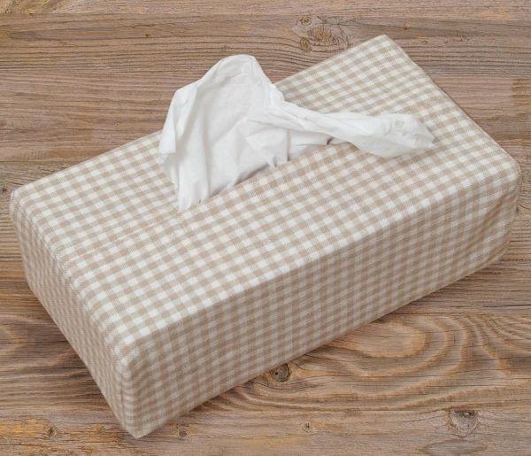 Taschentuchbox Hülle Textil Landhaus Premium LINA Tuchspender kariert beige
