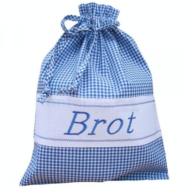 Brotbeutel Stoff Landhaus blau weiß kariert & Herz Stoffbeutel Sack 30x40 cm