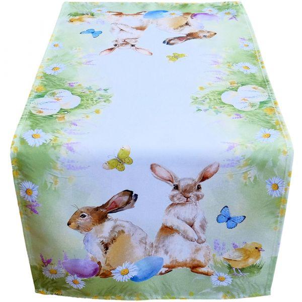 Tischläufer Mitteldecke Osterhasen Schmetterlinge Druck bunt Tischwäsche 40x90cm