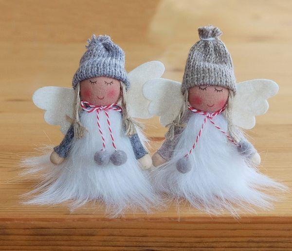 Engel Engelchen Weihnachtsengel Dekofiguren Weihnachten 2er Set grau weiß 8 cm