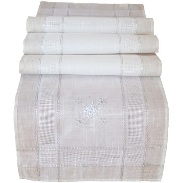 Tischläufer Mitteldecke Weihnachten Schneeflocken edle Stickerei 40x180 cm beige