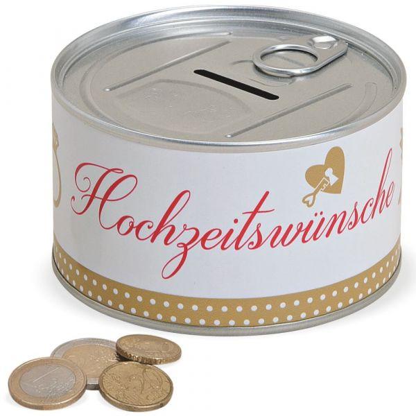 Spardose Blechdose & Aufreißverschluss Geldgeschenk – Hochzeitswünsche – Ø 10 cm
