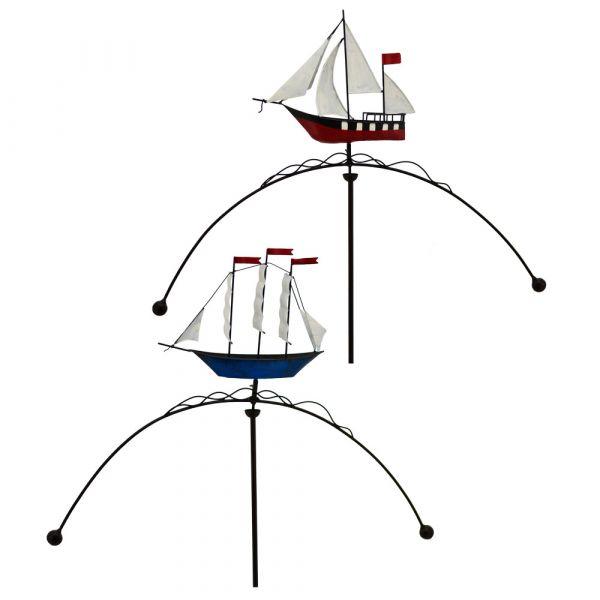 Maritimes Windspiel Segelboot ODER Segelschiff Gartendeko Metall 1 Stk 77,5x140 cm