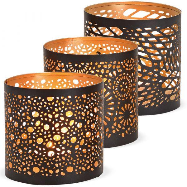 Windlichter Kerzengläser Metall orientalisch schwarz gold 3er Set sort. Ø 10 cm