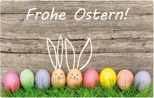 Tischset Platzset MOTIV Frohe Ostern Bunte Eier Holz 1 Stk abwaschbar 43x28 cm
