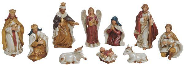 Krippenfiguren 10-tlg Weihnachtskrippen Figuren Set Jesus Josef & Maria 5-12 cm