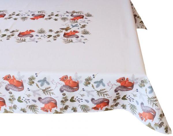 Tischdecke Tischwäsche Herbst Eichhörnchen weiß & Druck bunt 110x160 cm