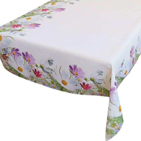 Tischdecke Tischtuch Blumenwiese Blumen Frühling weiß Druck bunt 110x160 cm