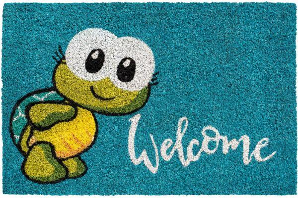 Fußmatte Kokosmatte Indoor türkis bunt Schildkröte & Welcome 1 Stk - 40x60 cm