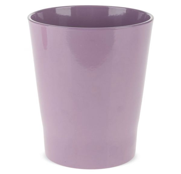 Glänzender Orchideentopf mit Steg Übertopf Keramik lavendel Ø 14x15 cm 1 Stk