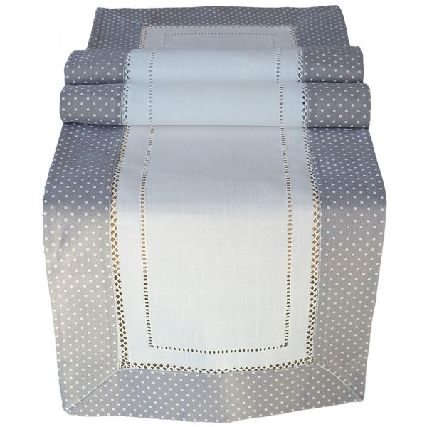 Tischläufer Mittelläufer Leinenoptik Landhausstil grau weiß gepunktet 40x140 cm