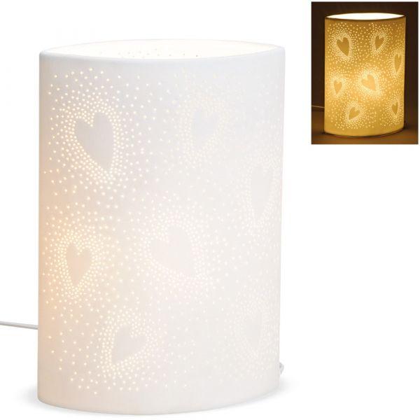 Tischlampe Nachttischlampe Leuchte Herzmotiv oval 230 V Keramik weiß 1 Stk 26 cm