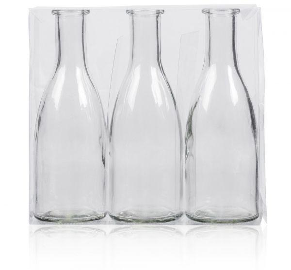 Glasflaschen 3er Set farbig Glas Dekoflaschen 18,5 cm klar / weiß