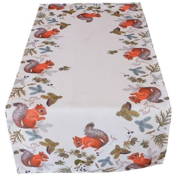 Tischläufer Tischwäsche Mitteldecke Herbst Eichhörnchen weiß Druck bunt 40x90 cm