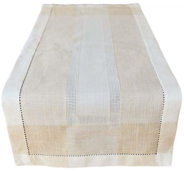 Tischläufer Mitteldecke Leinenoptik & Hohlsaum Tischwäsche wollweiß ecru 40x90 cm