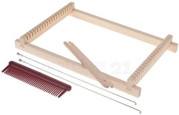 Kinderwebrahmen Holz - 5-teiliges Set inkl Schiffchen Webbaum Kamm & Anleitung