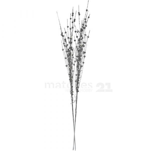 LED Deko Zweige Dekozweige Leuchtzweige Perlen silber warmweiß 75 cm / Batterie