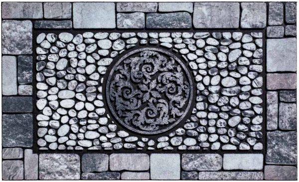 Fußmatte Gummimatte wetterfest OUTDOOR DECOR Steine Steinmuster Ornament 45x75 cm
