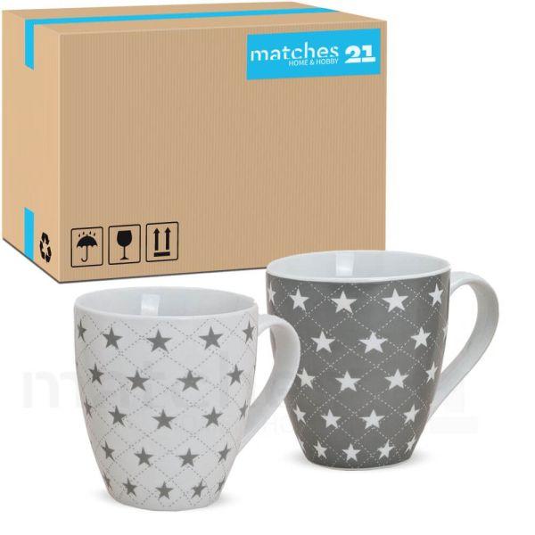 XXL Jumbo Becher Kaffeebecher 24 Stk. Karton Sterne grau & weiß 450 ml