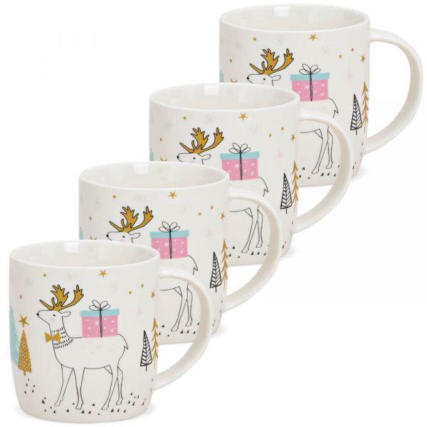 Tassen Weihnachtstassen Hirsch mit Geschenk bunt Porzellan 4er Set 8 cm / 350 ml