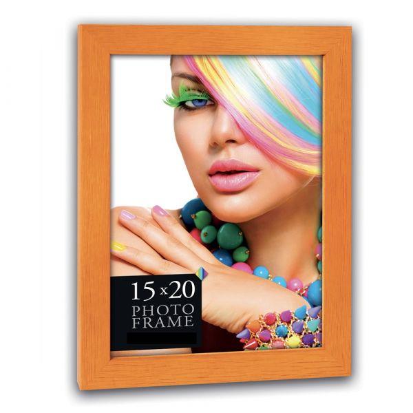 Bilderrahmen Holzrahmen Wechselrahmen Porträtrahmen Rahmen Holz orange 10x15 cm