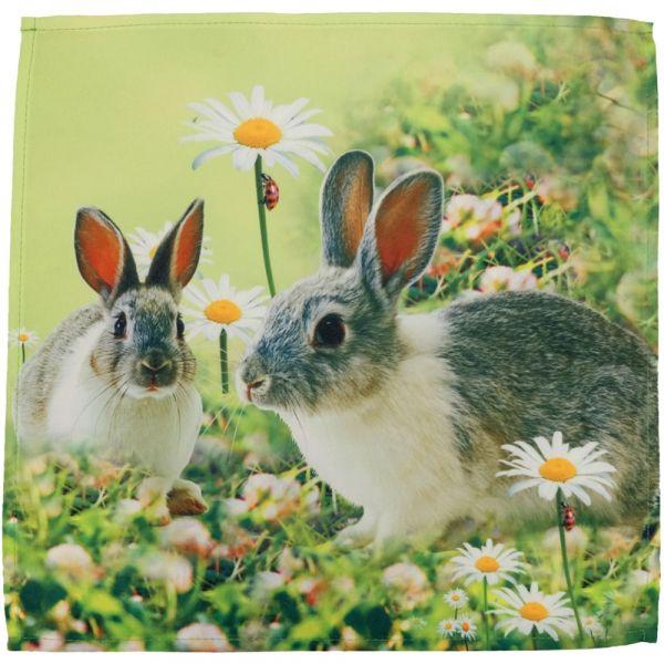 Mitteldecke Deckchen Hasen & Wiese Ostern Fotodruck bunt Tischwäsche 40x40 cm