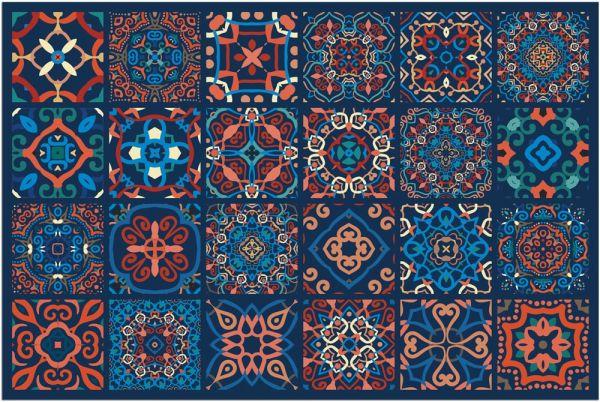 Fußmatte Fußabstreifer DECOR Fliesen marokkanisch blau orange waschbar 40x60 cm