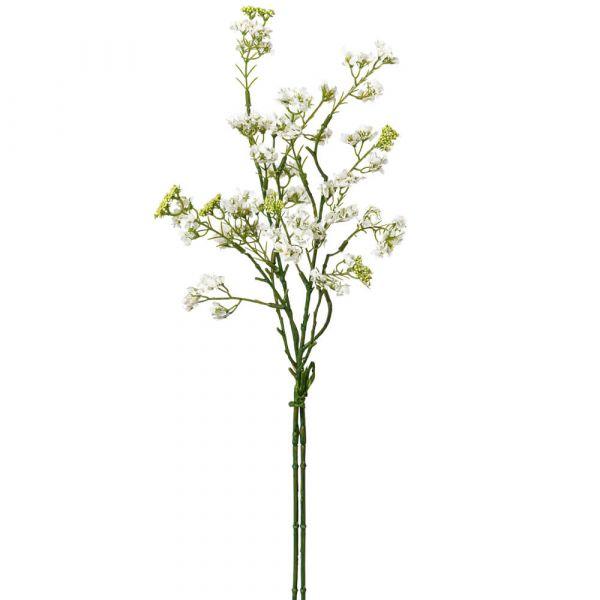 Spieren Zweig Ast Spierenzweig Kunstpflanze mit Blüten 1 Stk Länge 48 cm - weiß