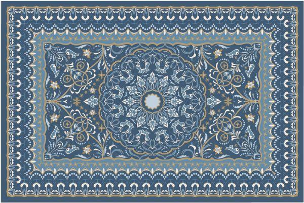 Fußmatte Fußabstreifer DECOR Perser Ornamente blau orientalisch waschbar 40x60cm