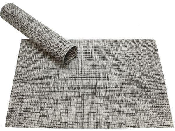 Tischset Platzset ELEGANCE hellgrau meliert gewebt Kunststoff 1 Stk. 45x30 cm