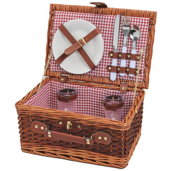 Picknickkorb 2 Personen Weidenkorb rot-weiß 11-tlg Kofferform inkl Geschirr