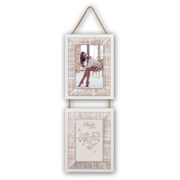 Bilderrahmen mit Kordel Hängerahmen Galerierahmen weiß & beige Vintage 10x15 cm