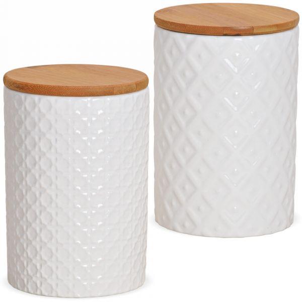 Vorratsdosen Porzellan & Holzdeckel Relief Muster Retro weiß 2er Set sort 800ml