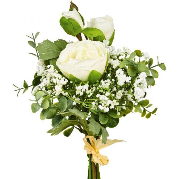 Rosenstrauß gebunden Kunstblumen Rosen Blumenstrauß 45 cm 1 Stk - creme weiß