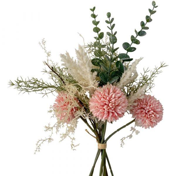 Wiesenblumen Kunstpflanzen Blumenstrauß gebunden 1 Stk - 37 cm - rosa zartrosa