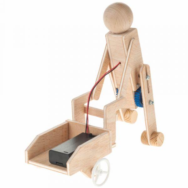 Arbeiter mit Karre Getriebemotor Holz & Elektro Bausatz für Kinder ab 12 Jahre