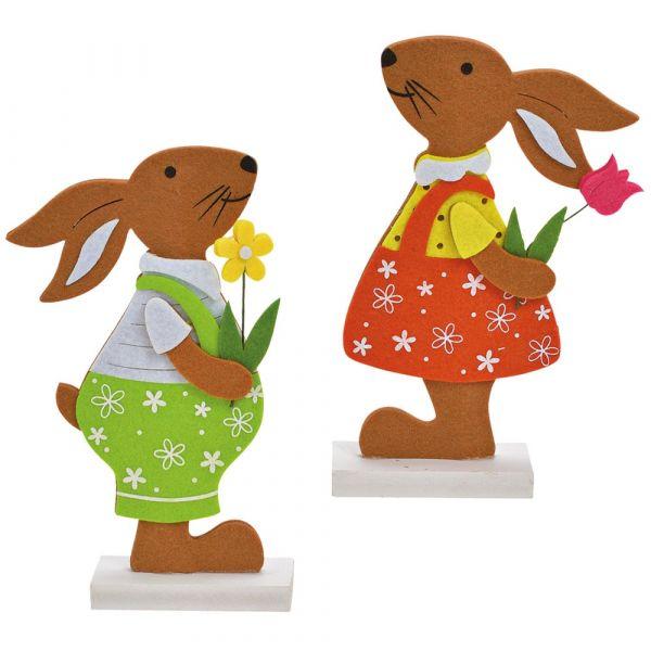 Osterhasen Filz Hasen Holzständer Junge & Mädchen grün & orange 2er Set 13x20 cm