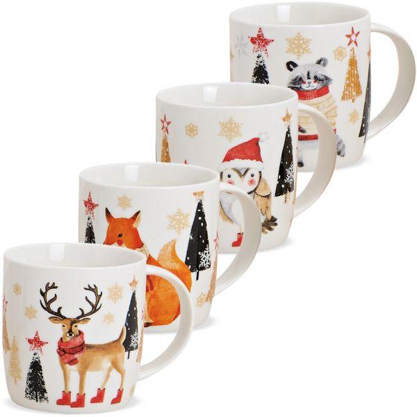 Tassen Kaffeebecher Weihnachten Wald Tiere Tannen Porzellan 4er Set sort 300 ml