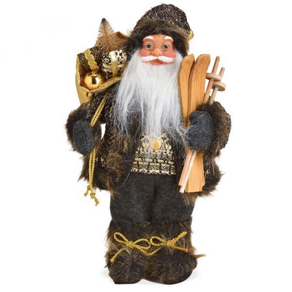 Weihnachtsmann Santa Sack Ski schwarz gold Standfigur Weihnachten 1 Stk 18x30 cm